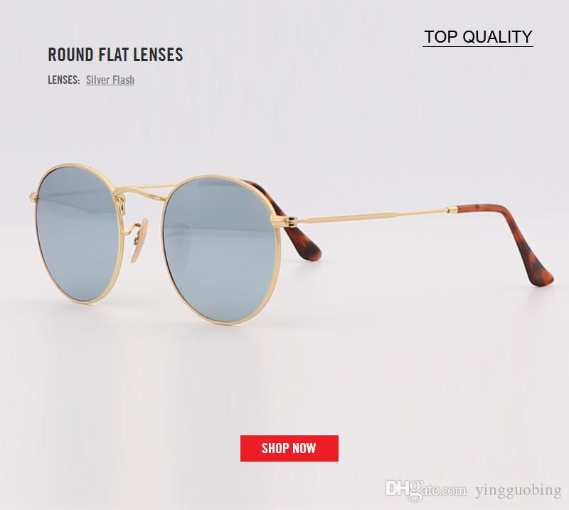 c794c5e2267 Newest Top Quality Men Women Flash Round Flat Lens Sunglasses Reflective  Mirrored Lens Brand Designer Best Sun Glasses Uv400 Gafas Luxury Sunglasses  Vintage ...