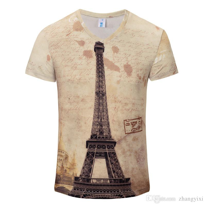Wholesale Vintage Famous Building 3d Digital Printed Men Short Sleeve Casual Cool Tops Tees T Shirt
