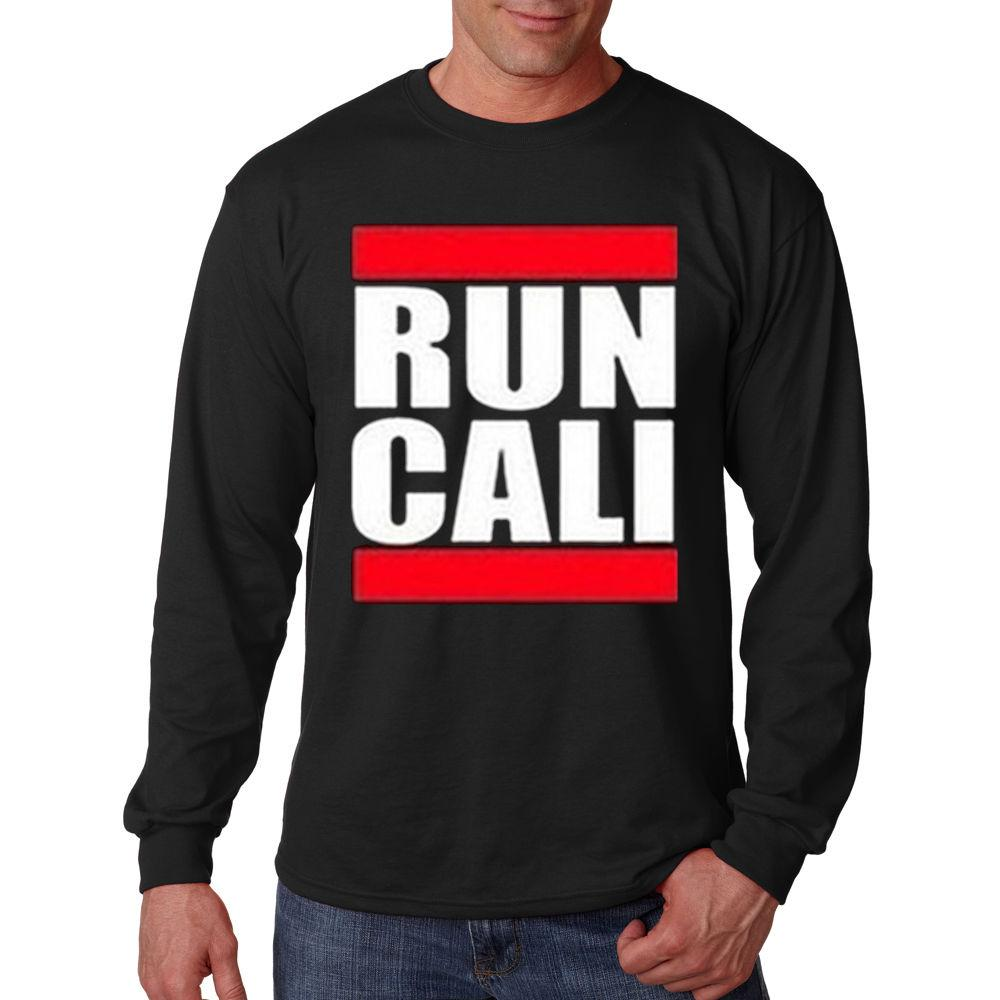 15142de2 Run Cali California Republic Red & White Logo Funny Humor Long Sleeve  T-Shirt