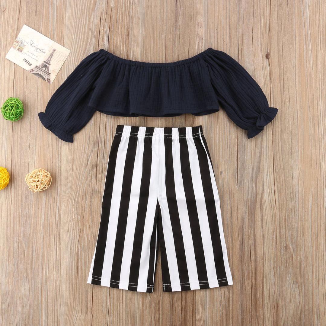 48d3331ae 2019 Infant Baby Kids Girl Two Piece Set Off Shoulder Clothes Black ...