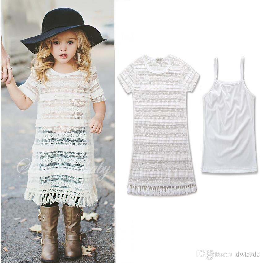 2018 New Summer White Family Matching Outfit Mommy and Me Short Sleeve Lace Dress Mom and Daughter Dresses Baby Girl Clothes
