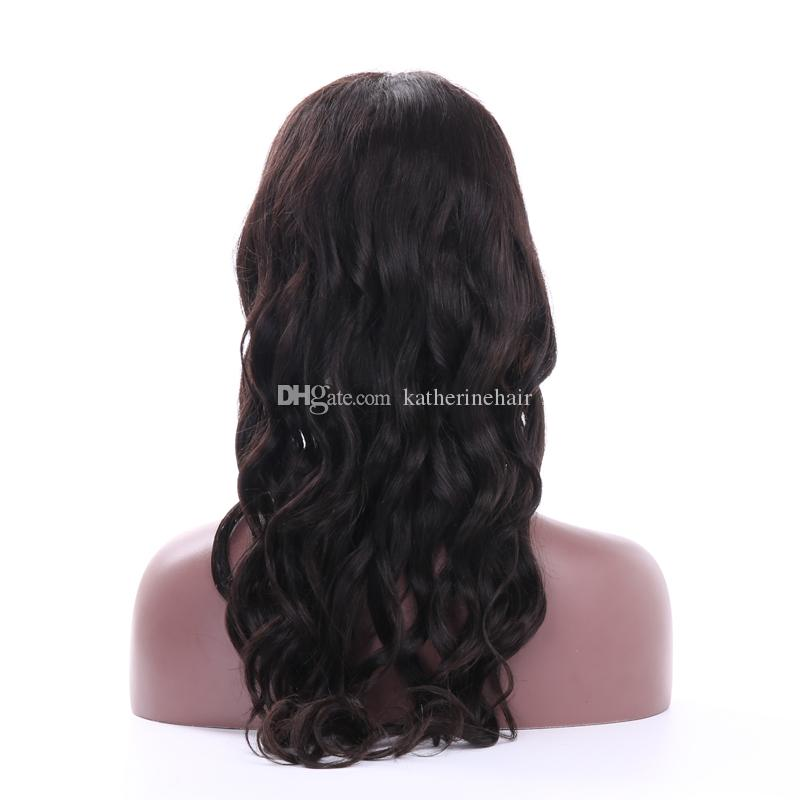 brazilian human hair lace front wig for black women loose wave glueless full lace wig with full bangs