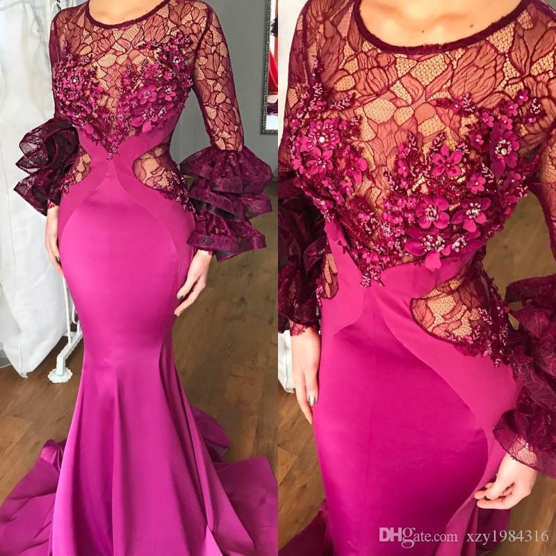 Graceful Dubai Mermaid Prom Dress Jewel Neck Lace Long Sleeves ...