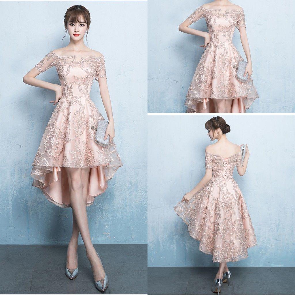 New 2018 Dresses Evening Wear High Low Off Shoulder Lace Rose Gold ...