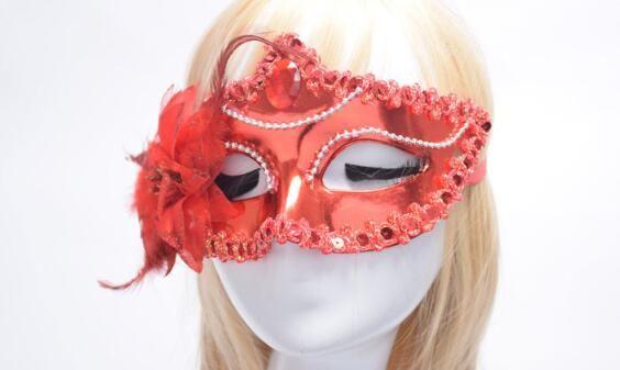 NEW SALE Italy Venice Shiny Masks Flashing Princess Mask Dance Mask Side Plating Mask pointed with flower Rhinestone Masks