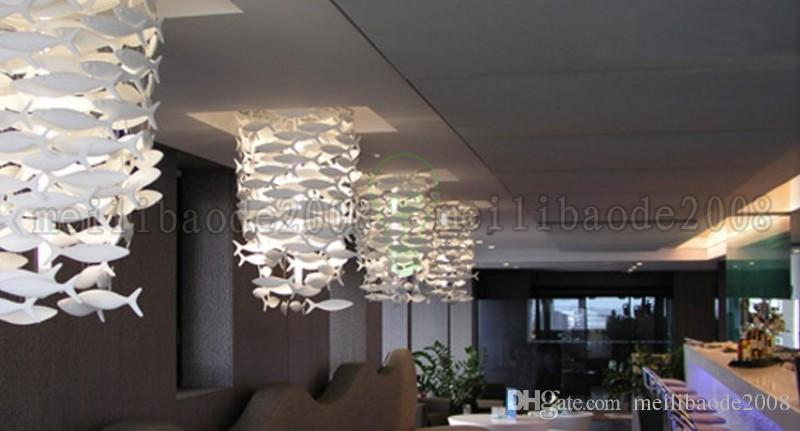 Customizable BENCHER Simple Fashion Creative White Ceramic Fish Lamp Dinning Room Chandeliers Lighting Decoration Pendant Lamps