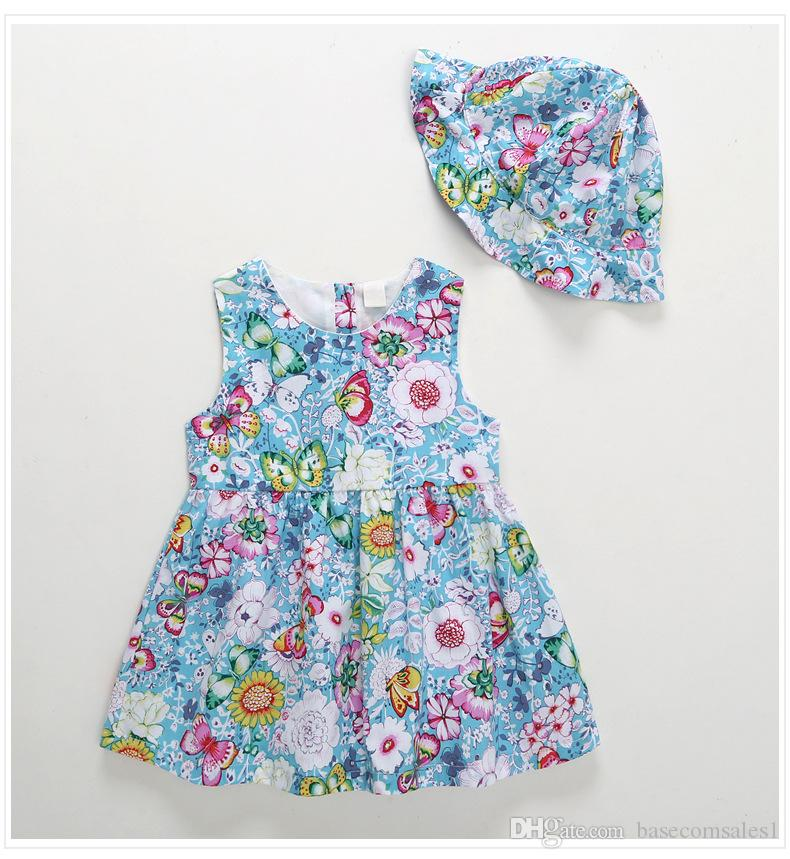 100% Pure Cotton Summer Cute Children Girl Dress with Hat One Piece Floral Princess Dress A Line Skirt Two Layers Lining Inside
