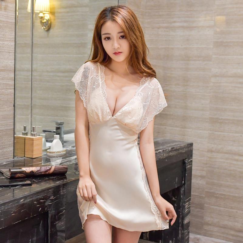 13cb79d32ca 2019 Ladies Sexy Silk Satin Nightgown Sleeveless Nightdress Sleepwear Lace  Nighties V Neck Sleepwear Nightwear For Women From Lucycloth