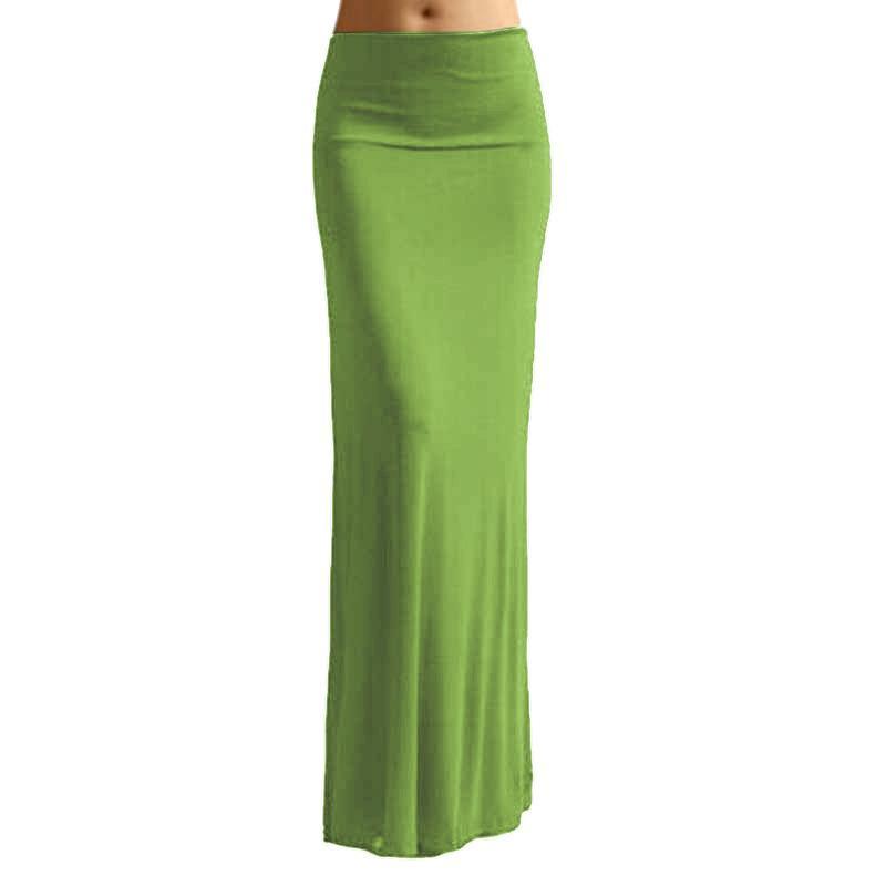 732af6589 Women Long Skirts Candy Color Womens Faldas Plus Size Maxi Skirt 6 Colors  Saias Cintura Alta Largas Elegantes Jupe Femme 2018 S916