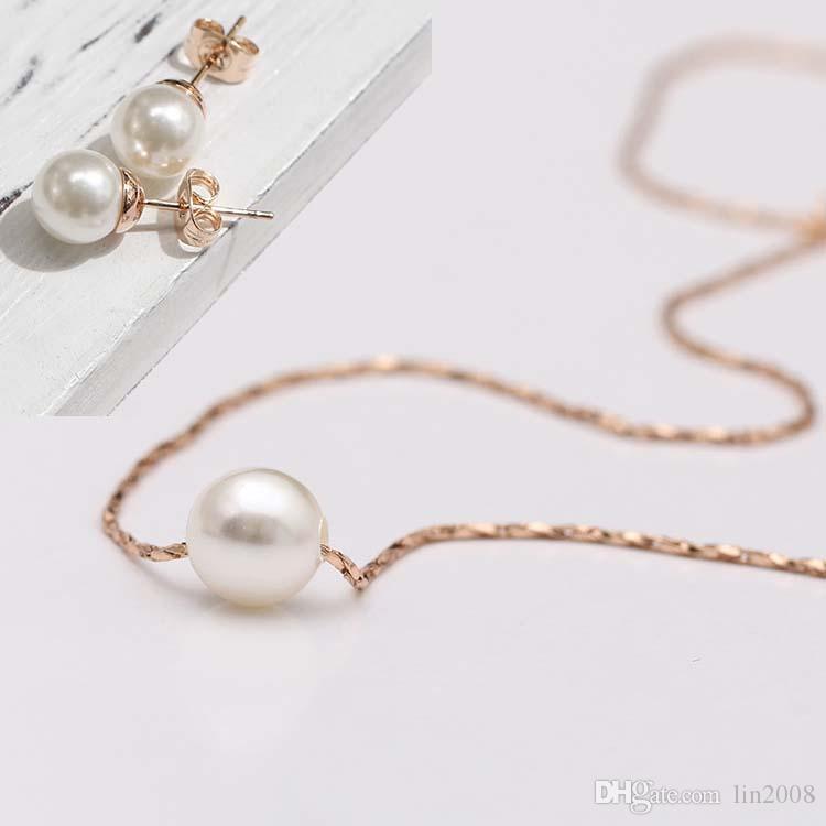 2015 nouvelle mini pendentif perle collier et boucle d'oreille pour les femmes, chaînes colliers plaqués or 18 carats et boucle d'oreille, bijoux de mode,