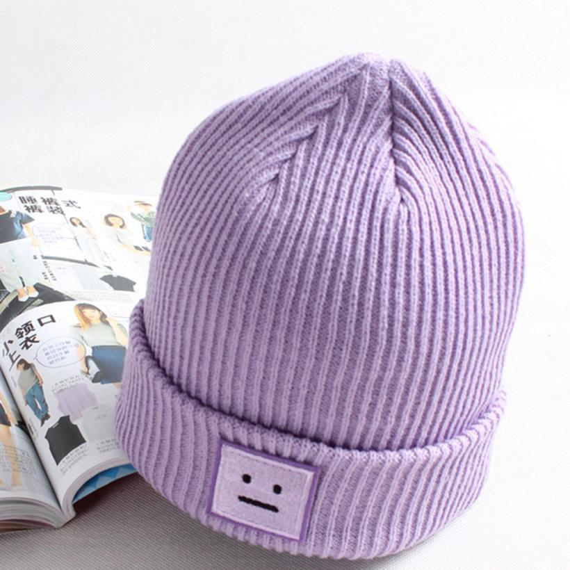 1b665ab568c 2019 Smiling Face Cap Knitting Beanie Cap Warm Winter Three Dimensional Hat  Men Women S Solid Winter Warm Outdoor Hiking Caps From Enjoyweekend