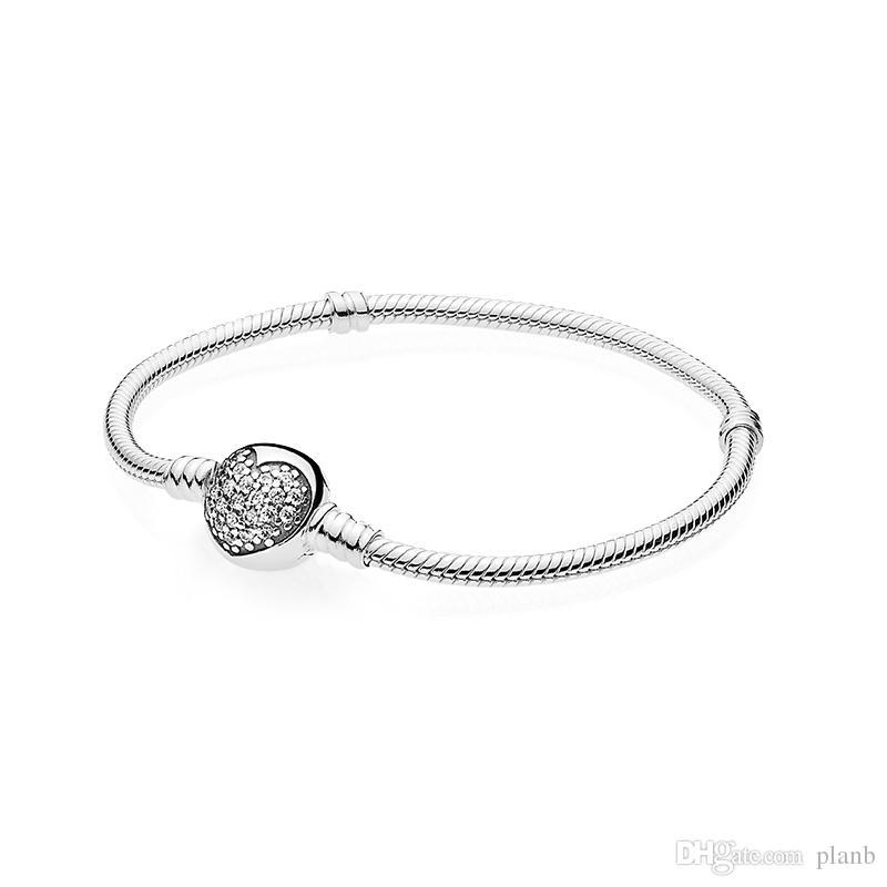 Bracciale da donna in argento sterling 100% 925 Bracciale a cuore in pavé con micro CZ bianco con scatola ciondoli europei Pandora