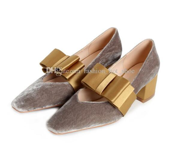 Big Bow tie Velvet Dress Shoes Square toe Mid heel Fashion Hot Womens Evening Party Shoes