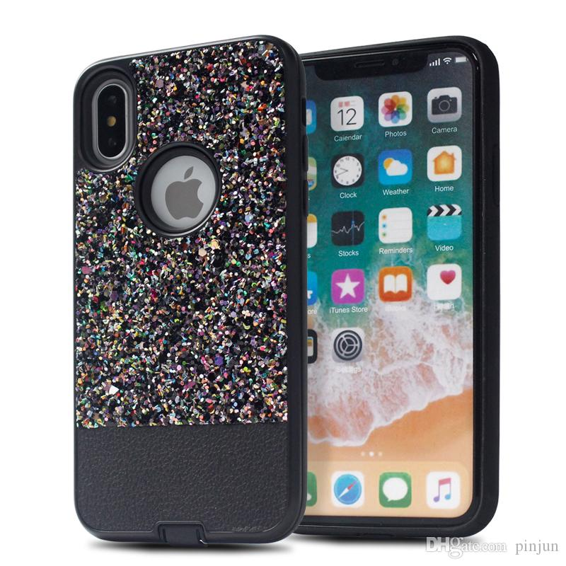 detailed look 89d5b cdc27 For LG Stylo 4 MetroPCS Dual Layer Stitching Glitter Powder PU Leather Back  Cover For LG Q Stylo Plus Case Luxury