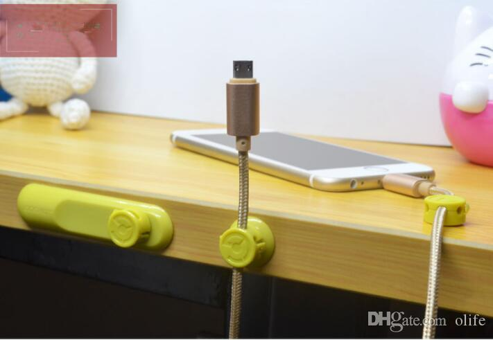 새로운 4 색 다기능 이어폰 헤드폰 코드 와인 더 USB 케이블 홀더 자기 주최자 수집 클립 마그네트 와이어 클램프 DHL