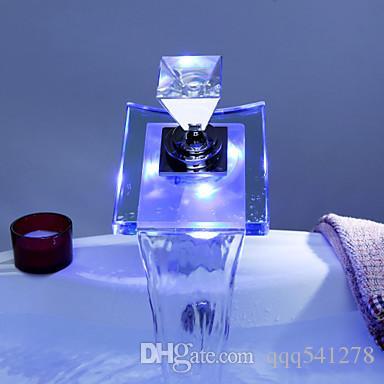 الفاخرة الزجاج شلال حوض صنبور الصمام اللون تغيير الحمام خلاط البطارية الحنفية كروم