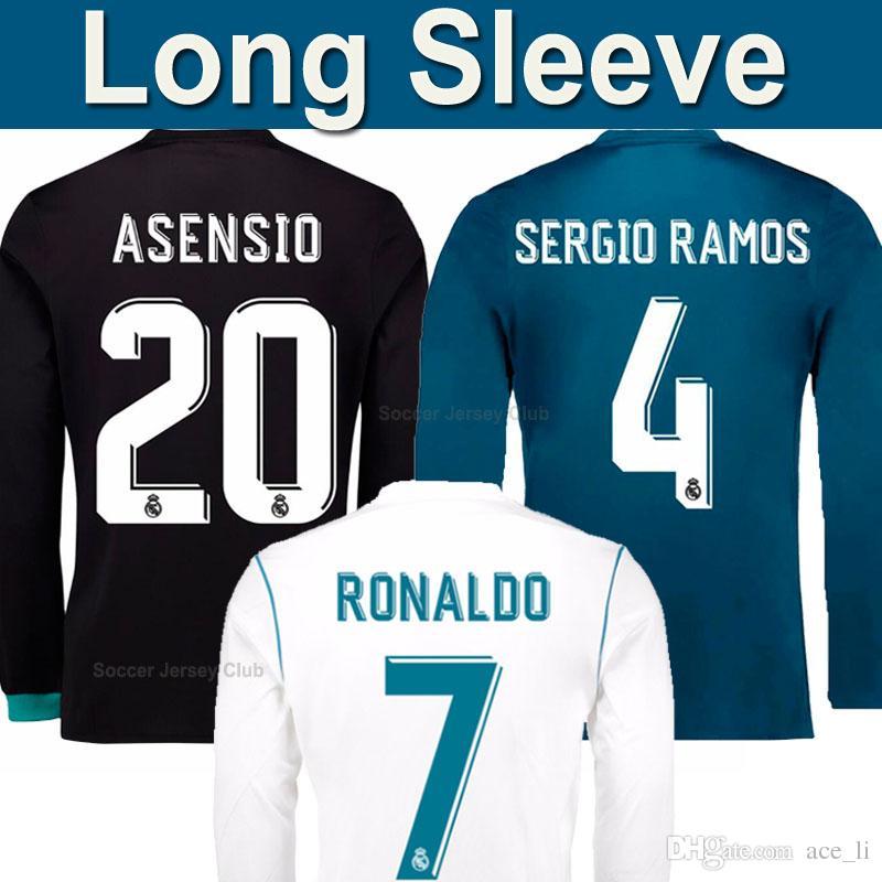 Compre 17 18 Mais Barato Tailândia Manga Longa Completa Real Madrid 2017  2018 Soccer Jersey Football Shirts Best Thai Thailand BENZEMA RONALDO  ASENSIO BALE ... a565aca44bc87