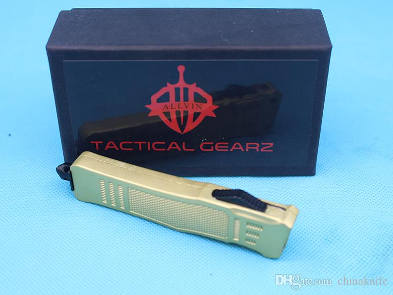 Promoción Oro de 7 pulgadas 616 Mini CUCHILLO TACTICO AUTOMÁTICO 440C BLACK + HABLE DE DIBUJO DE ALAMBRE Cuchillas de aleación de aluminio de zinc-aluminio EDC N cuchillos de bolsillo