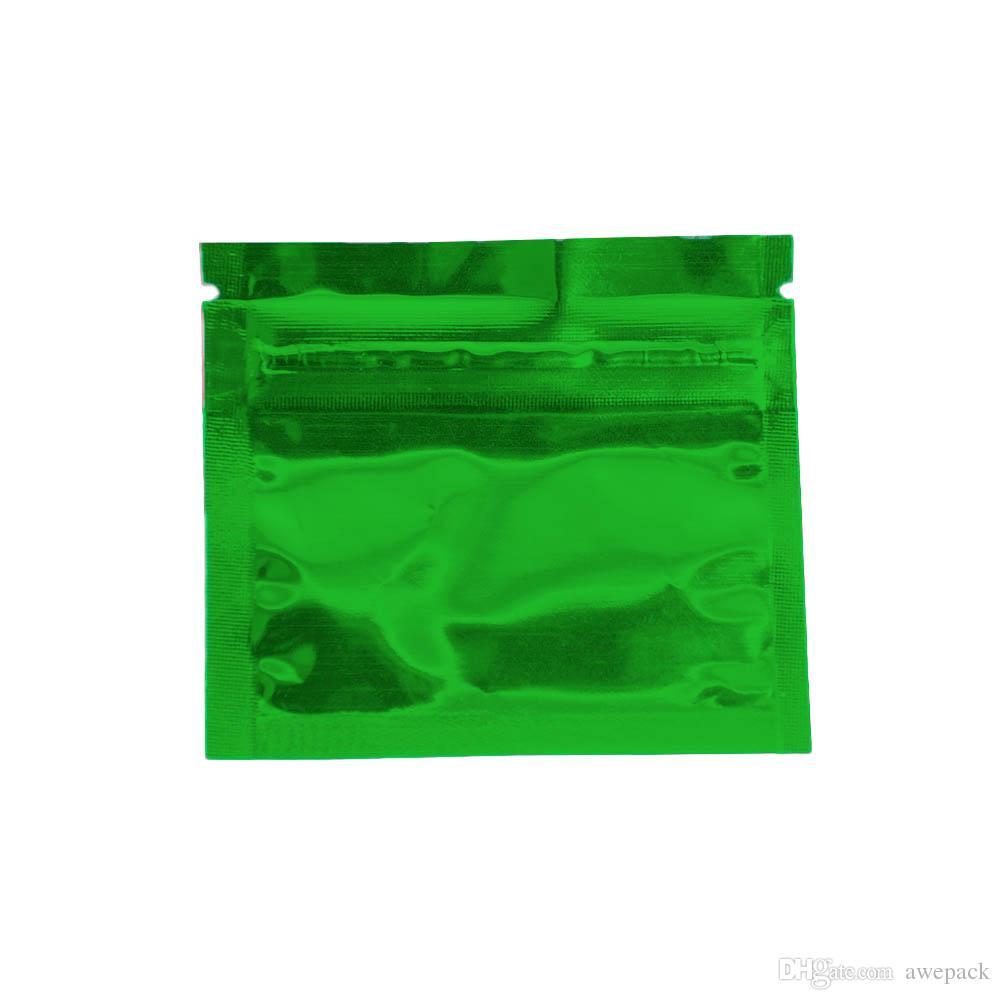 7.5 * 6 cm Vert Petit Mylar Zip Serrure Sacs Thermoscellable Étanche En Aluminium Feuille Alimentaire Café SmellProof De Stockage ZipLock Sac D'emballage