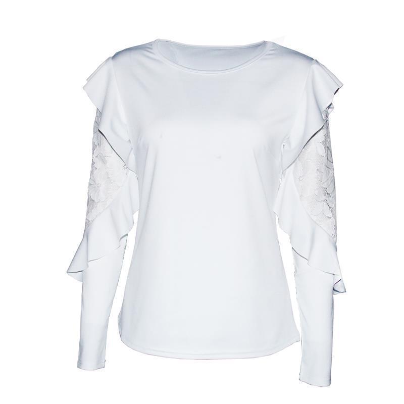 Dentelle Patchwork Blouse Élégant Travail À Volants Blusas Mujer À Manches Longues Femmes Tops Casual Ladies Shirt WS5317X