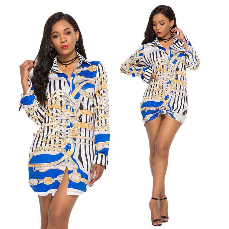8538f0e44d Free Ship Women Lady Sexy Lapel Collar Printed Shirt Dresses Club Wear Mini  Dress Plus Size