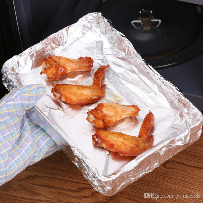 Sturdy BBQ Grill Oven Baking Aluminum Foil Dispenser Wrap Barbecue Chicken Paper Wrappers Oilpaper Silver 5m 10m Rolls Metal
