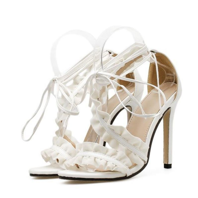 f90925f7ab62 High Heel Beautiful Sandals 2018 New PU Lace Up Sexy Bandage Women White  Fine Heel Shoes 35 40 Code 115mm Heel Fringe Sandals Silver Wedges From  Iwalkers07