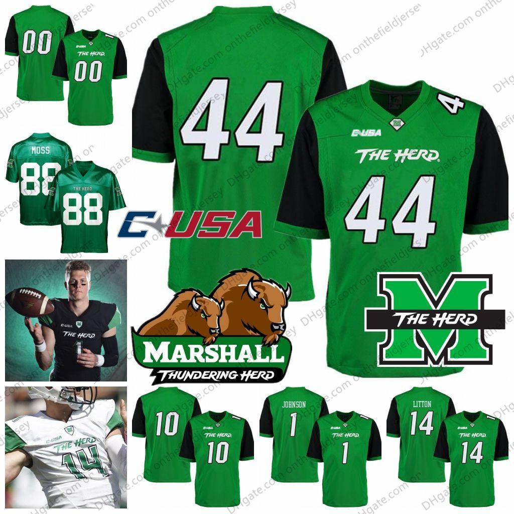 520b67cb7 Marshall Thundering Herd NCAA College Football Jerseys  44 Ahmad Bradshaw  10 Chad Pennington   Mike Barber Green White Black S 4XL UK 2019 From ...