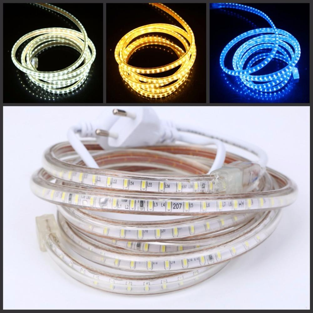 120Leds/M 240V 220V LED Strip Light SMD3014 Waterproof White/Warm White/blue Led Tape rope lights With EU Power Plug clip IP67