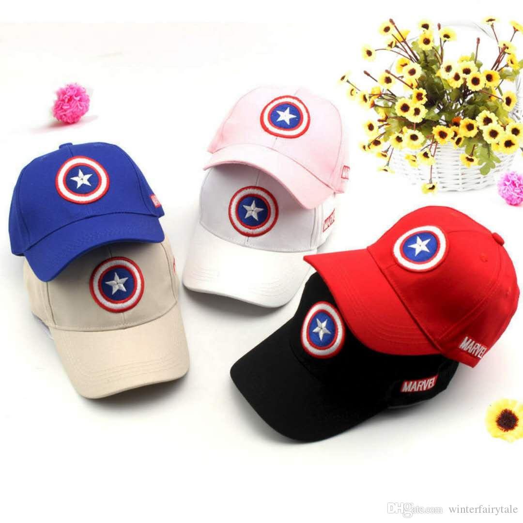 Hot capitão americano boné de beisebol das crianças verão chapéu de sol cap ajustável menino e menina primavera cúpula hip hop chapéu de sol 6 cores