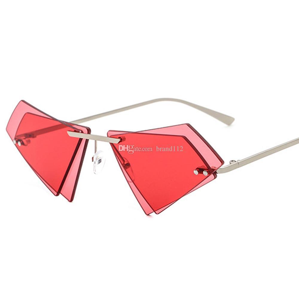 c48589437f 2018 Vintage Triangle Sunglasses With Red Lenses Metal Yellow Pink Rimless  Sun Glasses For Women Female Uv400 Sport Sunglasses Prescription Sunglasses  ...
