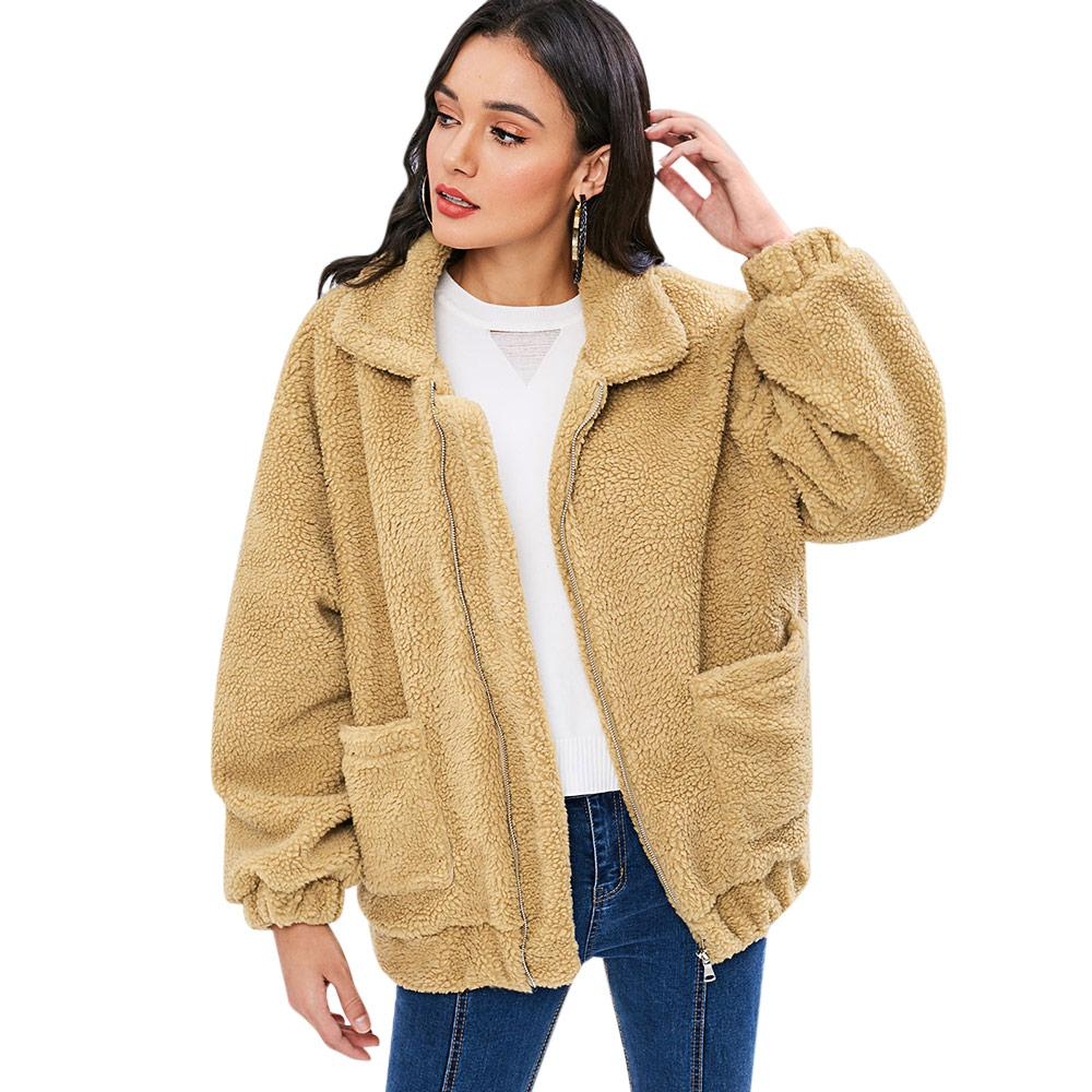 12efc691 Wipalo Zip Up Fluffy Winter Coat Fashion Women Lamb Wool Loose Jacket Coat  Pocket Soft Sherpa Autumn Winter Ladies Tops
