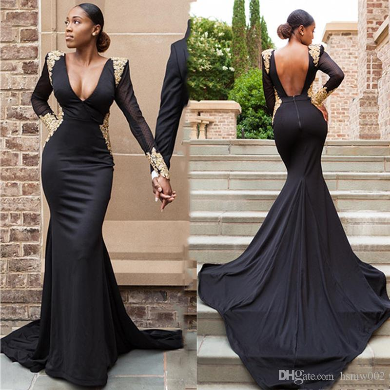 5e29a2b0ae7 Gorgeous V Neck Long Sleeves Black Mermaid Prom Dresses Sexy Backless Gold  Appliques Evening Party Dress Formal Prom Gowns Special Dress Sell My Prom  Dress ...