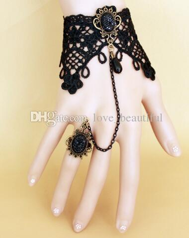 Hot style European and American women vintage black lace bracelet with ring integrated chain fashion classic elegant