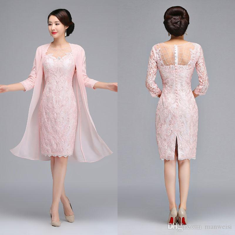 Cheap Pink 2018 Mother Of The Bride Dresses With Chiffon Jacket Lace  Appliqued Wedding Guest Groom Dress Knee Length Evening Gowns Mother Of The  Bride ... f3bf1a347f93