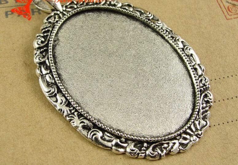Sublimation Halsketten Anhänger für Frauen Retro Frauen Ellipse Halskette Anhänger für Thermotransferdruck DIY leer A4079