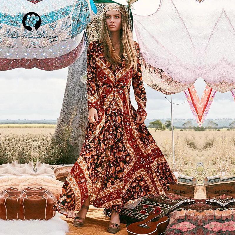 55e9b822939 Autumn Long Boho Women Dress V Neck Full Sleeve Print High Cut out Dresses  Vestidos Elegant Bohemian Style Dress Dresses Cheap Dresses Autumn Long  Boho ...