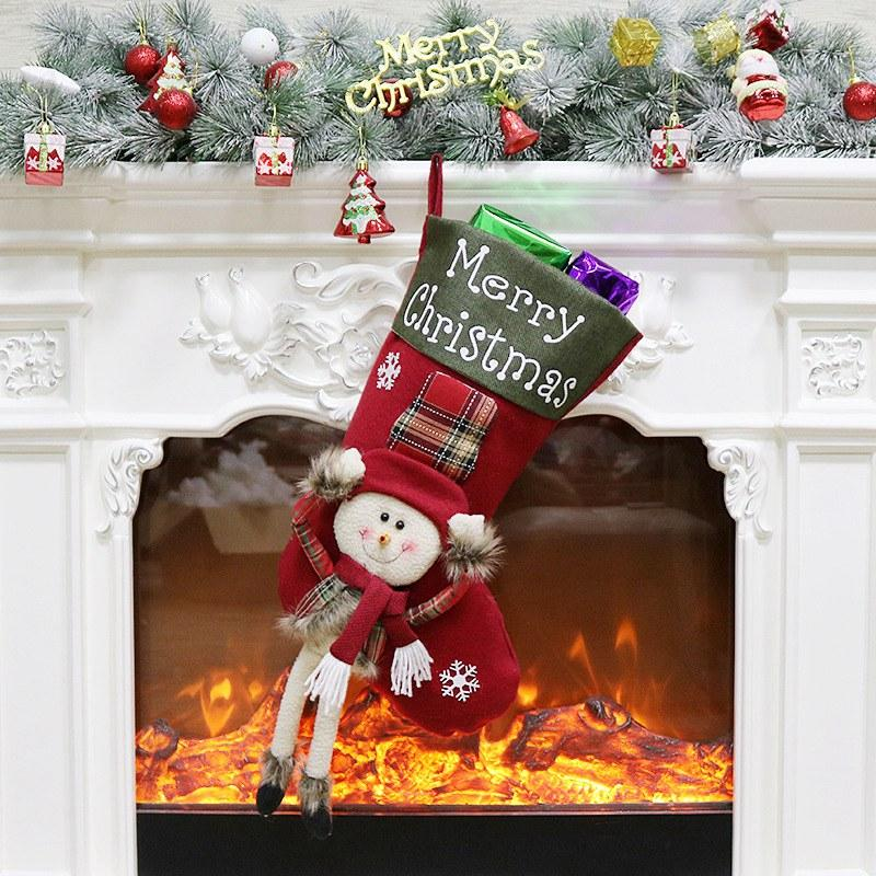 2018 hot sale christmas stockings santa claus sock gift kids candy bag xmas noel decoration for home christmas tree ornaments christmas baubles online - Christmas Stockings On Sale