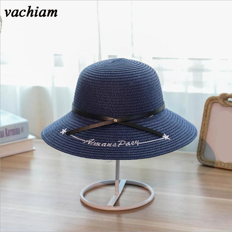 b63ba442c3c Vachiam 2018 Hot Sale Women Summer Sun Hat Belt Bow Dome Straw Hat Fashion  Letter Embroidery Sunscreen Travel Beach Vintage Hats Mens Caps From Gocan