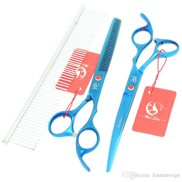 7.0Inch Meisha Blue Pet Grooming Scissors Set Stainless Steel Dog Shear 6.5Inch Thinning Trimming Tesoura with Comb Bag HB0117