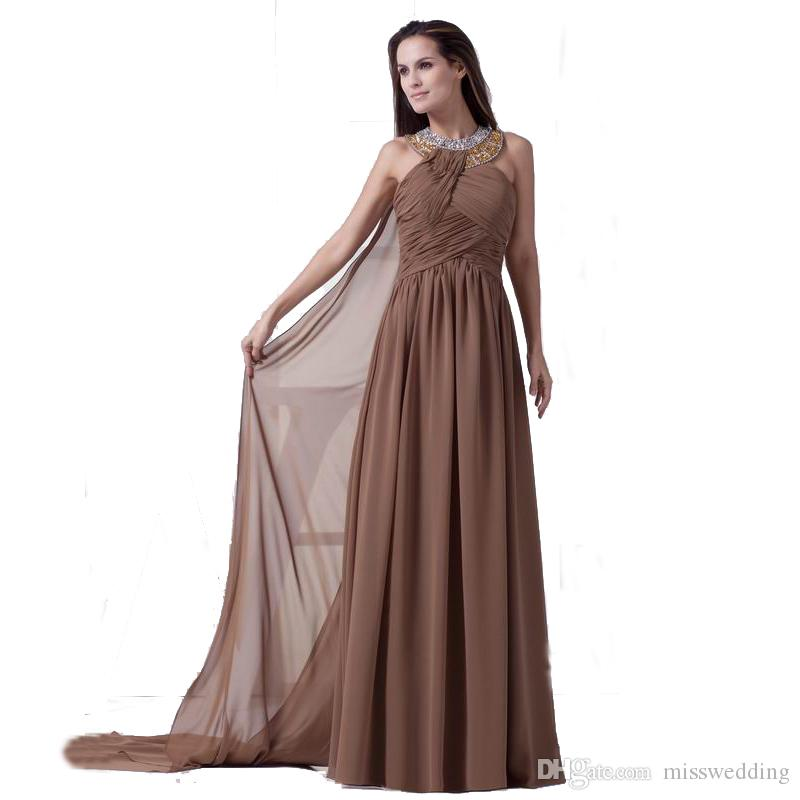 2018 Eren Jossie Halter Neck Brown Chiffon Long Evening Dress Beaded Pleated Gown European American Style