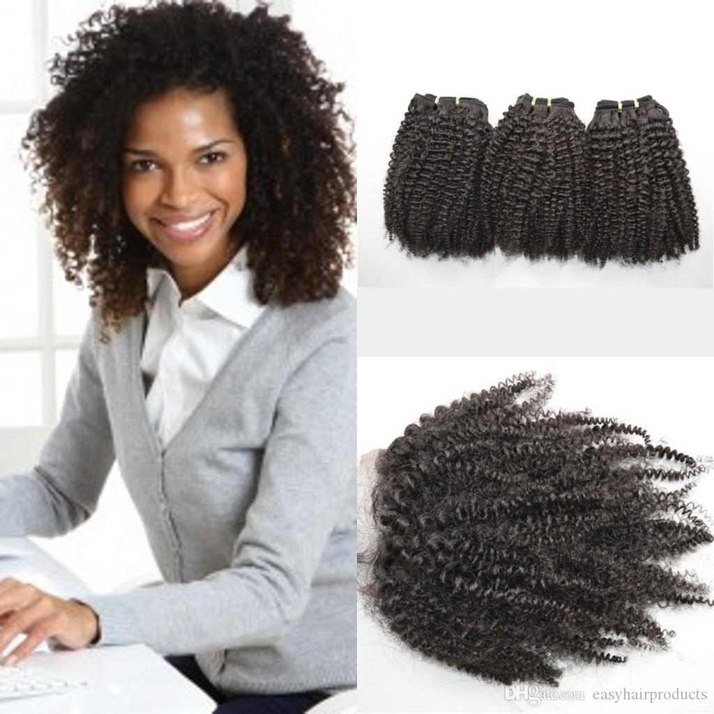 Unprocessed Human Hair Extensions Virgin Peruvian Afro Kinky Curly Hair Bundles With Lace Closure 4pcs Lot