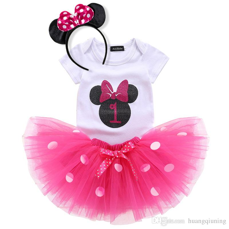 2019 Baby Little Girl 1st First Birthday Outfits Toddler Infant Party Dress Newborn Baptism Kids Clothes For Wedding Gown Tutu Tulle Costume From