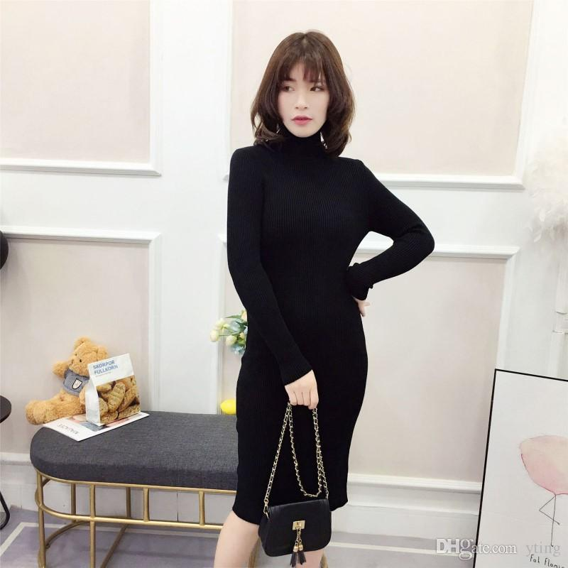 2019 High Necked Long Pullover Sweater Womens Autumn And Winter New