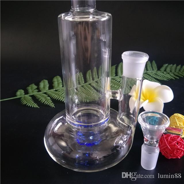 Bongos de vidro de alta qualidade quente da tubulação de água da tubulação de fumo do bongo de vidro com 1 pouco tubine perc 11 polegadas de altura junção 19mm fêmea GB-335