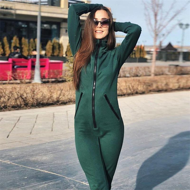 20d4f3d3c476 2019 Women Autumn Winter Hooded Jumpsuit New Zipper Bodycon Sexy V Neck Jumpsuits  Rompers Long Sleeve Bodysuits Femme Overalls From Zhenhuang