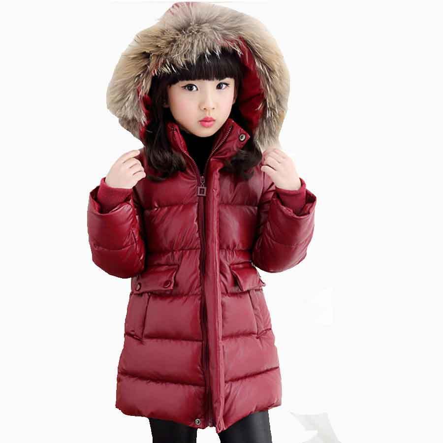 großer Rabatt 08993 ea2cd Großhandel Mädchen Mantel 2018 Europäischen Dicke Warme Steppjacken Für  Jungen Mode Rot Langen Mantel Kinder Winter Lederjacke Für Mädchen Kinder  Von ...