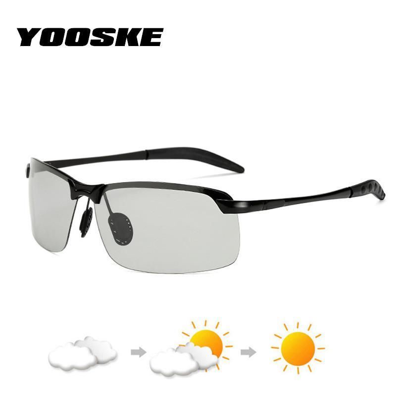 df18be4e5ee YOOSKE Driving Photochromic Sunglasses Men Polarized Chameleon  Discoloration Sun Glasses Male Half Frame Glasses Driver Goggles Suncloud  Sunglasses Foster ...