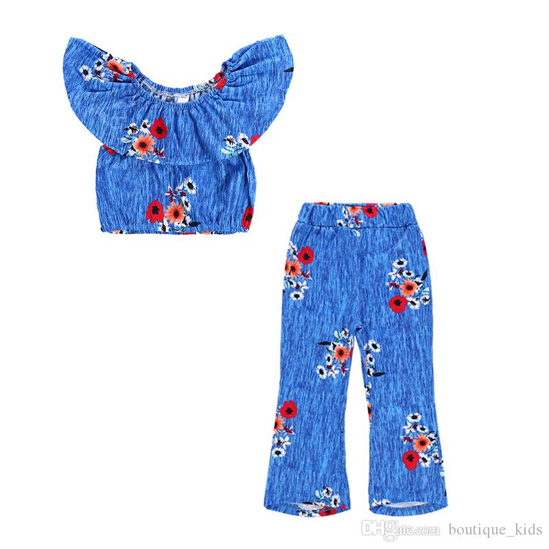 Kids Clothing Baby Girl Clothes Set Blue Flower Off Shoulder Tops +Floral Loose Bell-Bottom Pants 2PCS Girls Outfits Set Childrens Clothes