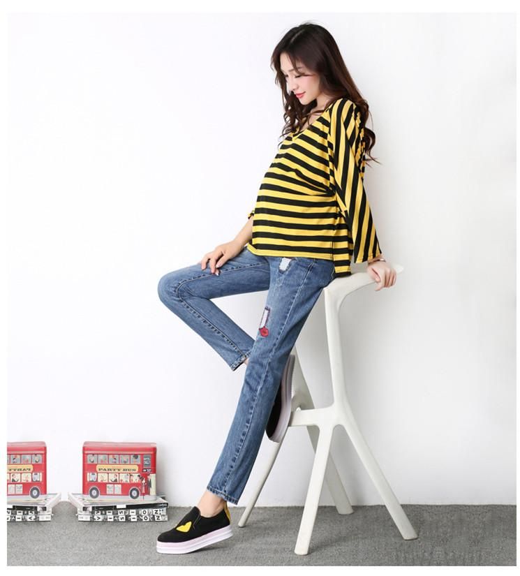 32afd85a00069 2019 2017 Spring Autumn New Maternity Clothes Fashion Casual Jeans For Pregnant  Women High Waist Adjustable Belly Feet Pants Was Thin From Localking, ...